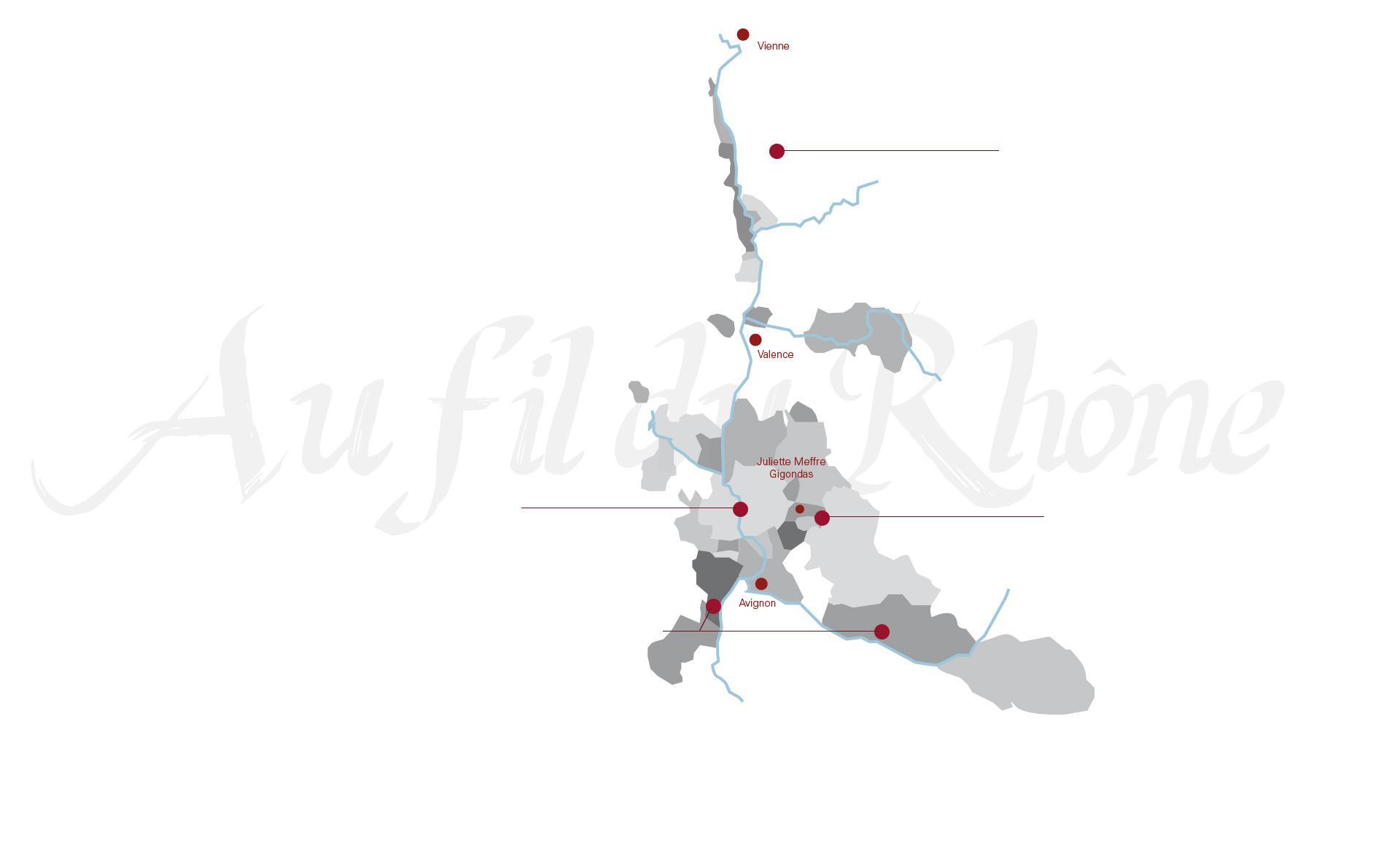 Carte de nos régions - Vin Côtes du Rhône
